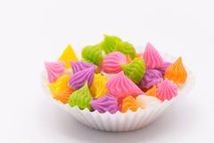 Siamesischer süßer Nachtisch Aalaw-Süßigkeit gemacht vom Weizenmehl, Kichererbse Lizenzfreie Stockfotos