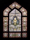 Siamesisches Artbuddhismus-Tempelfenster Stockfoto