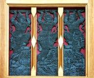 Siamesisches Artbuddhismus-Tempelfenster Stockbild