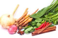 Siamesisches Gemüse u. Kräuter auf weißem Hintergrund Lizenzfreie Stockfotos
