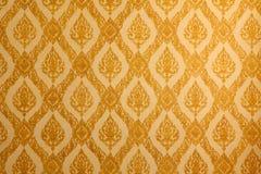 Siamesisches traditionelles klassisches Muster auf Tempelwand Stockbilder
