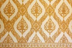 Siamesisches traditionelles klassisches Muster auf Tempelwand Stockbild