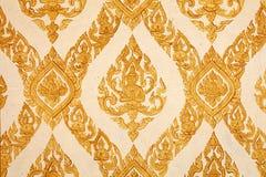 Siamesisches traditionelles Muster auf Tempelwand Lizenzfreie Stockfotos
