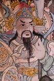 Siamesisches Wandbild, chinesischer Krieger Stockfoto