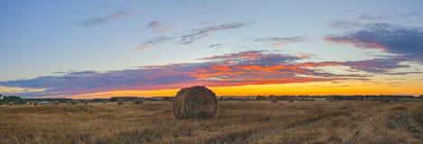 Siano bele na polu po zbierać na tle położenia słońce i kolorowy zmierzchu niebo obrazy stock