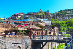 Siarka Kąpać się i domy Stary miasteczko Tbilisi, republika Gruzja Obrazy Stock