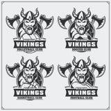Siatkówka, baseball, piłka nożna, futbol etykietki i logowie, i Sporta klubu emblematy z Viking ilustracja wektor