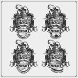 Siatkówka, baseball, piłka nożna, futbol etykietki i logowie, i Sporta klubu emblematy z rycerzem royalty ilustracja