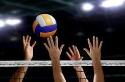 Siatkówka kolca ręki blok nad siecią Zdjęcia Stock