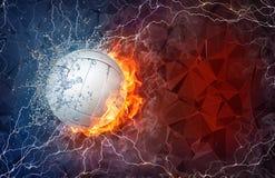 Siatkówki piłka w ogieniu i wodzie ilustracji