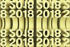 Siatka żółte Nowe 2018 rok postacie Fotografia Royalty Free
