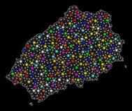 Siatka drutu ramy mapa ?wi?tobliwa Helena wyspa z Kolorowymi Lekkimi punktami ilustracji