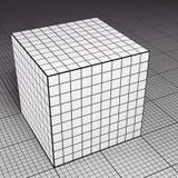 Siatka papierowy sześcian na siatka papieru podłoga ilustracja wektor