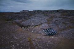 Siatka w Lawowym polu nad Surtshellir lawą jaskiniowy Iceland obrazy royalty free