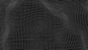 Siatka zniekształcający skutek, kropki siatka z falami, abstrakcjonistyczny tło zdjęcia stock