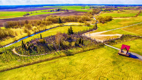 Siauliai , Lithuania: aerial above view of Hill of Crosses, Kryziu Kalnas. stock image
