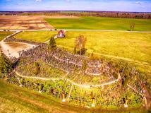 Siauliai , Lithuania: aerial above view of Hill of Crosses, Kryziu Kalnas. royalty free stock image