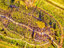 Siauliai , Lithuania: aerial above view of Hill of Crosses, Kryziu Kalnas. royalty free stock photography