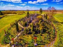 Siauliai , Lithuania: aerial above view of Hill of Crosses, Kryziu Kalnas. stock photography