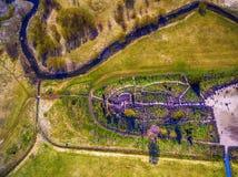 Siauliai , Lithuania: aerial above view of Hill of Crosses, Kryziu Kalnas. royalty free stock photos