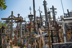 SIAULIAI, LITHUANIA - JULY 22, 2018: Hill of Crosses is a unique. Monument of history and religious folk art and the most important Lithuanian Catholic Royalty Free Stock Photography