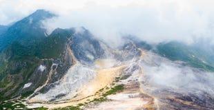 Εναέριο ηφαίστειο Sibayak άποψης, ενεργό caldera που βράζει στον ατμό, προορισμός ταξιδιού σε Berastagi, Sumatra, Ινδονησία στοκ εικόνες