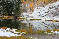 Sibbald Pond in early fall snow Stock Image