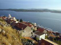 Sibenik. Perspective on Sibenik city and sea (Croatia, Hrvatska Stock Photos