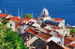 Sibenik Cathedral from St. Michael`s Fortress Royalty Free Stock Photos