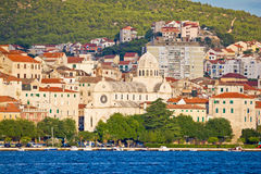 Sibenik cathedral and waterfront view Royalty Free Stock Photos
