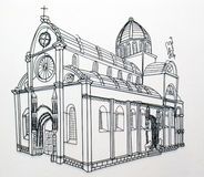 Sibenik cathedral. Wire model of Sibenik cathedral in Croatia Stock Photos