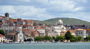 Sibenik, Croaitia. Sbenik old town and the Cathedral of St. James from the sea Royalty Free Stock Photo