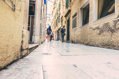 SIBENIK, CROATIA-May 26,2017: Scenic view at mediterranean narrow streets and historic traditional architecture in Croatia Royalty Free Stock Photography