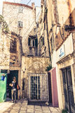 SIBENIK, CROATIA-May 26,2017: Scenic view at mediterranean narrow streets and historic traditional architecture in Croatia Royalty Free Stock Photo