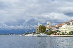 Sibenik, Croatia, October 10 2017, Cloudy sky over the city, Nice warm autumn day at Adriatic Sea Royalty Free Stock Image