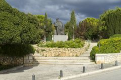`Sibenik, Croatia, October 10 2017, Statue in park and cloudy sky, Nice warm autumn day Royalty Free Stock Image