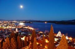 Sibenik at night. Sibenik town cathedral at night moon light Stock Photography