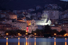 Sibenik at night, Croatia Stock Images