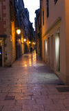 Sibenik old town at night main street with stone pavement Royalty Free Stock Images