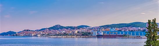 Sibenik old town panoramic view at sunrise royalty free stock images