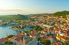 Sibenik panorama from St Michael Fortress. Top view form St Michael Fortress of Sibenik Croatia Stock Photos
