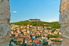 Sibenik panorama from St Michael Fortress Royalty Free Stock Photos