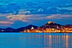 Sibenik que iguala la opinión colorida de la costa Imagen de archivo libre de regalías