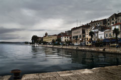 Sibenik and the rain. As I was takeing this photo it began to rain for many days. We can see the old part of the city of Sibenik, one of the most beutiful cities Stock Image