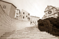 Sibenik in sepia Stock Images