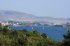 Sibenik Stadtschacht, adriatische Küste, Kroatien Stockfotografie