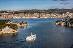 Sibenik town and st. Ante channel. View from sea Royalty Free Stock Image
