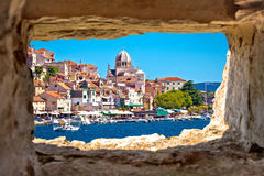 Sibenik waterfront through stone window view Royalty Free Stock Photo