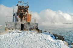 Siberië. De winter. Een mist. Stock Foto's
