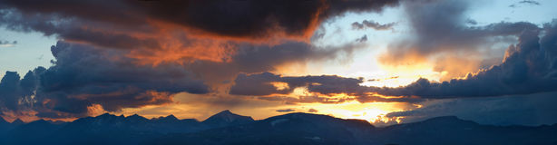 Siberia. Altai. Skyline of the mountains. Panorama. Russia. Siberia. Altai. Skyline of the chain of mountains at the colourful sunset. Panorama royalty free stock photo